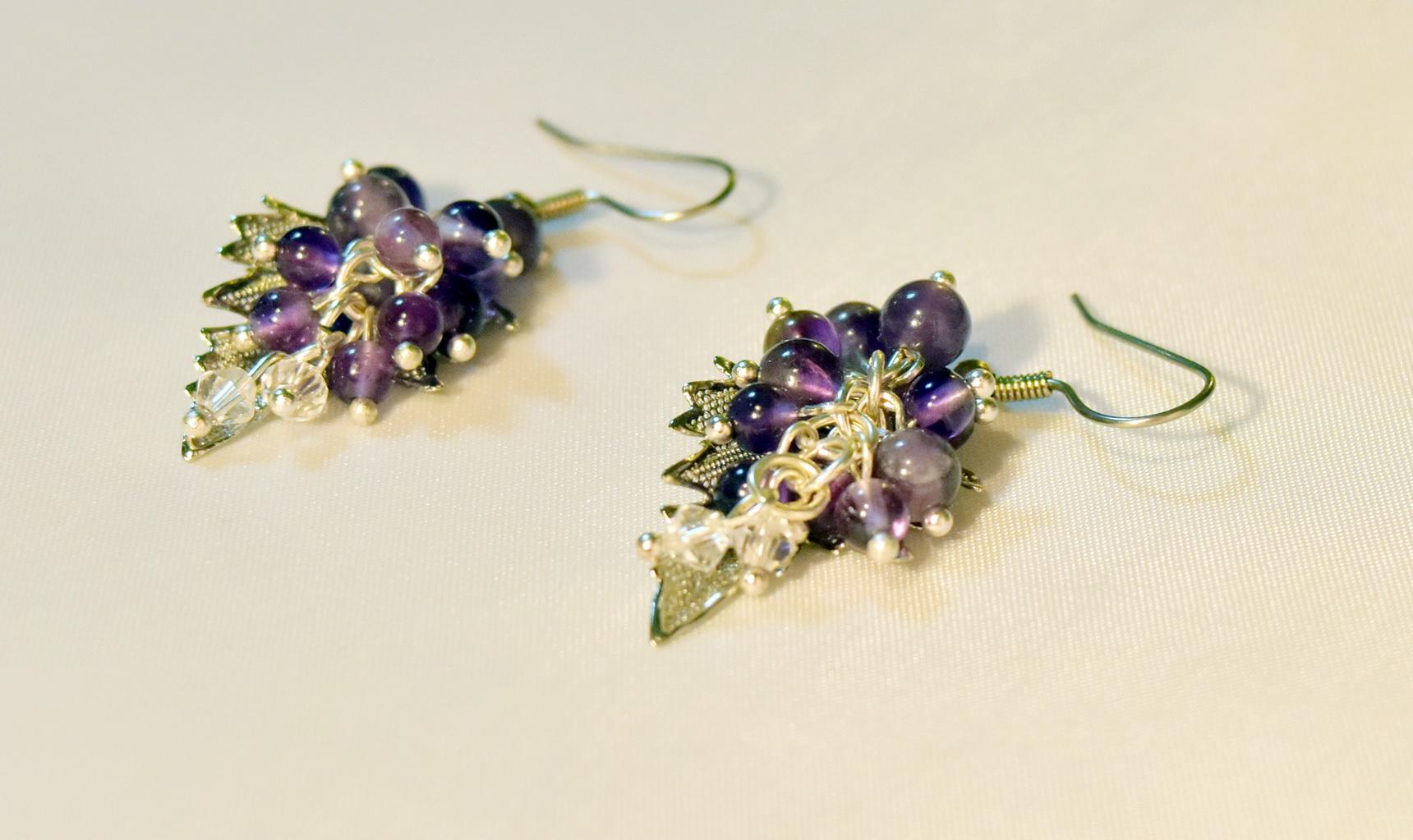 amethyst-grape-earrings