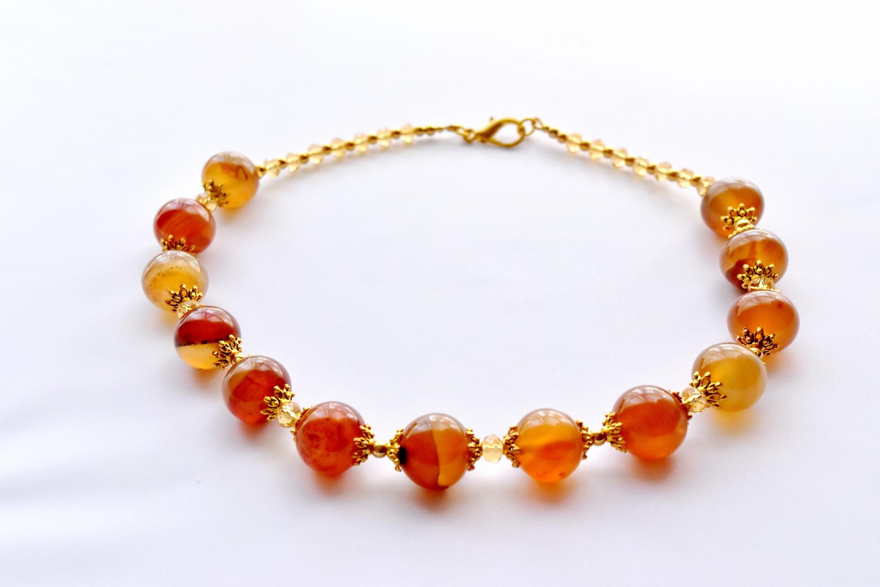 Orange Agate Necklace with Topaz – Beaded Handmade Jewellery